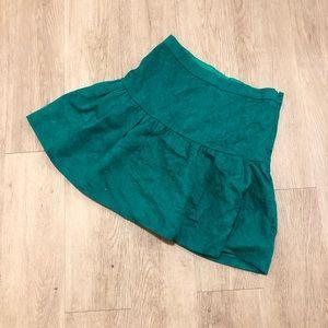 Jcrew teal jacquard dropwaist flare mini skirt 0